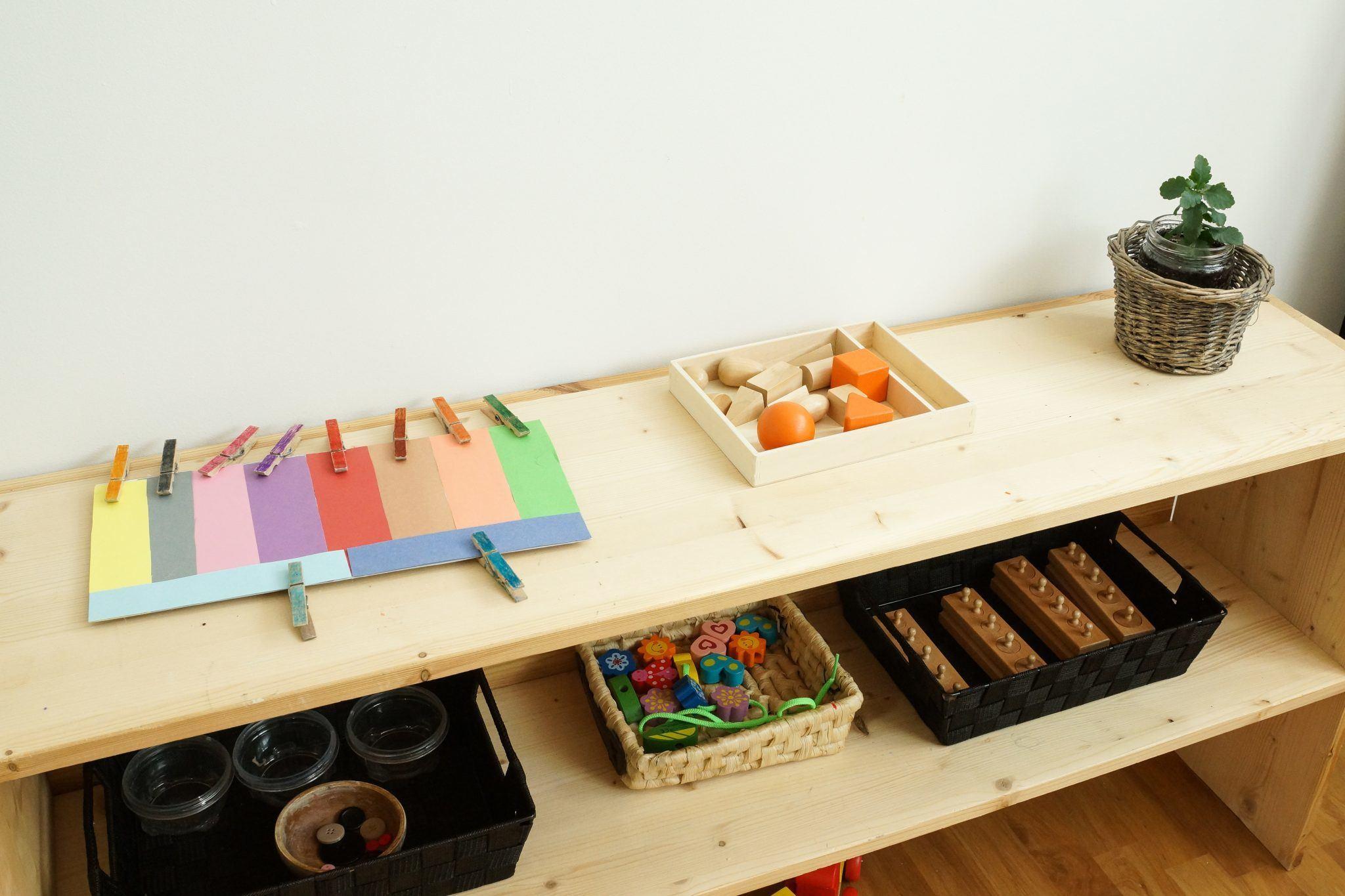Montessori sorting toys display shelf